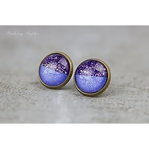 lila glitzernde Ohrstecker 'Purple Rain, 12 mm