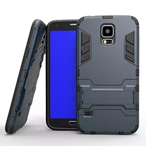 S5 i9600 cas, Lantier [peau de maturité de son style] 2 en 1 combo double couche [cas grave] effets de robots de glissement hybride amovibles de couverture avancée armure de silicone claquant dur sur  S5 i9600 noir