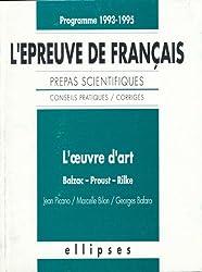 L'épreuve de français, prépas scientifiques : l'oeuvre d'art, programme 1993-1994