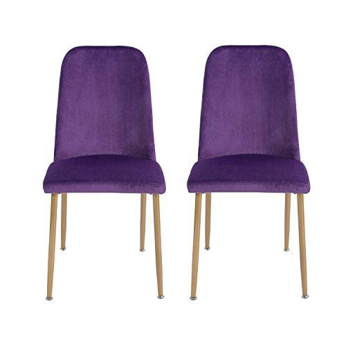 H.J WeDoo 2er Set Samt Esszimmerstuhl mit hoher Rücken und weich Sitz, Moderner Gepolsterter Stuhl mit Metall Beinen in Spray Gold Finish, erhältlich - Lila - Hoher Gepolsterter Rücken Metall