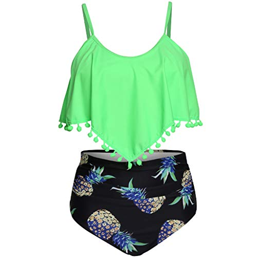 Bfmyxgs Frauen Plus Size Badeanzug mit Lotusblatt-Print und hoher Taille und geteiltem Bikini-Print mit gekräuselten Blumen-Schultergurt -