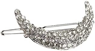 Young & Forever Galaxy Silver Crescent Diamonte Hair Clip for women (Silver, HA90015)