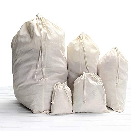 OUTERDO Baumwolle Zuziehbeutel Beutel Kleidersack Wäschesack Waschsack Tasche Sack 52x75cm