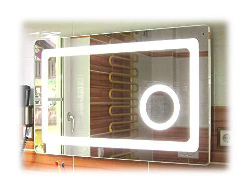 SBC Bad Spiegel mit LED Beleuchtung und integriertem 5X Kosmetikspiegel, dimmbar durch Touch Sensor,...