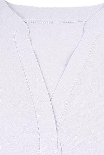 La Vogue Chemise Blouse Femme Manche Court Mousseline Haut V-Col Casual Blanc