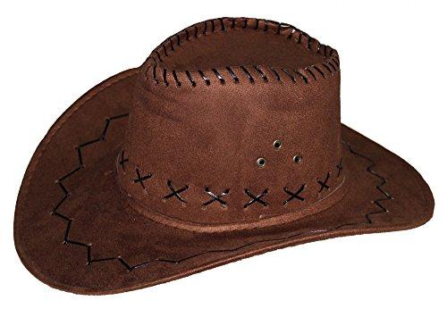 y Hut für Erwachsene in brauener Leder-Optik | Ideal für Männer und Frauen an Karneval Fasching Party Cowgirl Cowboyhut Damen Western Filz ()