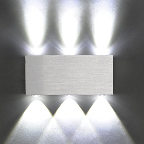 Modern wall lights amazon amzdeal modern aluminum 6 led 6w up down wall lights for living room bedroomcool white aloadofball Image collections