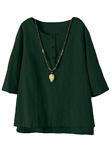 Vogstyle Damen Baumwoll Leinen Tunika T-Shirt Jacquard Oberseiten Dark Green L