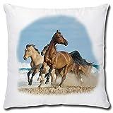 TRIOSK Kissen mit Pferdemotiv Pferde am Meer als Geschenk für Pferdeliebhaber Mädchen Frauen, Dekokissen Bezug inkl. Füllung Reißverschluss, Weiß Bunt, 40x40 cm