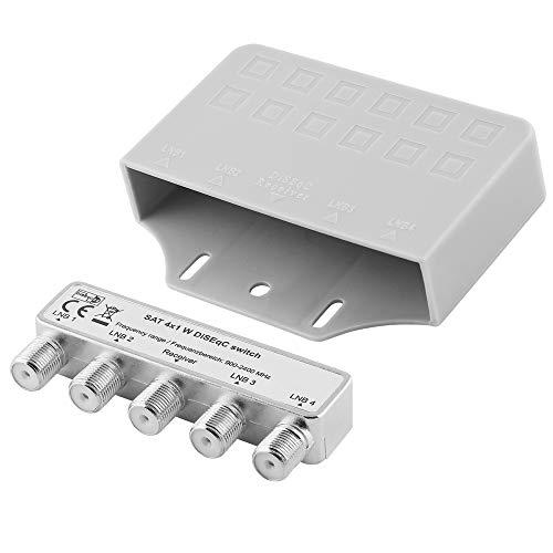 Digital Sat Schalter Umschalter für Satelliten-Anlagen / DiSEqC 2.0 / 1 Receiver Anschluss und 4 LNB Anschluss / geeignet für 3D SD HD FullHD UHD 4K / Metallausführung