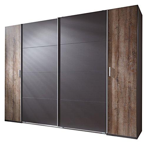 Wimex 444788 Dreh- Schwebetürenschrank, Holz, lavafarbig / drehtüren schlammeiche nachbildung, 270 x 65 x 210 cm