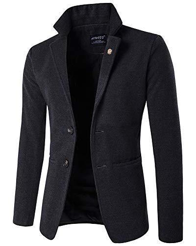 Giacca da uomo slim fit casual elegante vestito di affari cappotto giacca blazers top outwear grigio scuro m