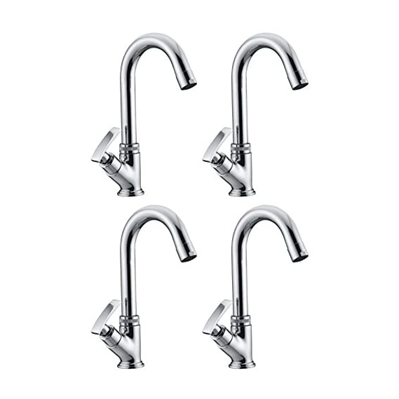 Drizzle Swan Neck Pillar Cock Soft Brass Chrome Plated/Wash Basin Tap / 360 Degree Moving Spout Tap/Bathroom Tap/Quarter Turn Tap/Water Foam Flow Tap - Set of 4