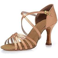Ruhe @ Damen Dance Schuhe Satin Satin Latin Heels geschoben Ferse Innen 8,5  cm