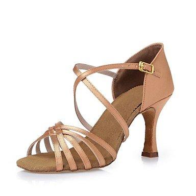 Silence @ Chaussures de danse pour femme en satin satiné Latin talons Chunky Talon d'intérieur 8.5cm Nude Marron Noir Cl24CL25Cl36Cyan/ marron foncé