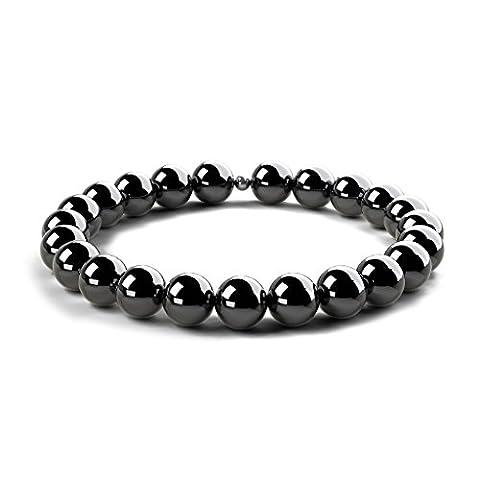 Black Onyx Gloss Beaded Bracelet - Semi-Precious 8mm Beads & 925 Sterling Silver Bead - Stretch Bracelet for Men & Women, Unique Design & Made in United Kingdom