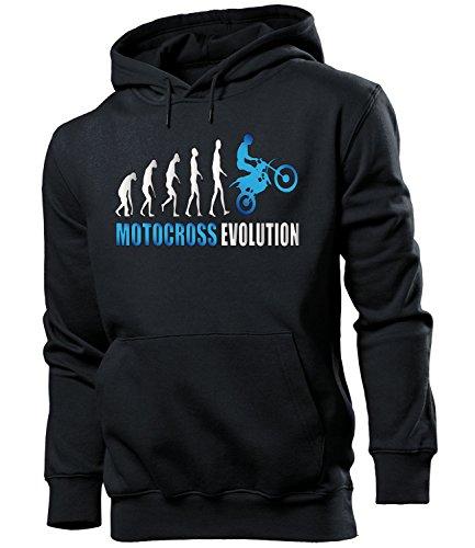 MOTOCROSS EVOLUTION 2058 Herren Hoodie (HKP-SW-Weiss-Blau) Gr. M