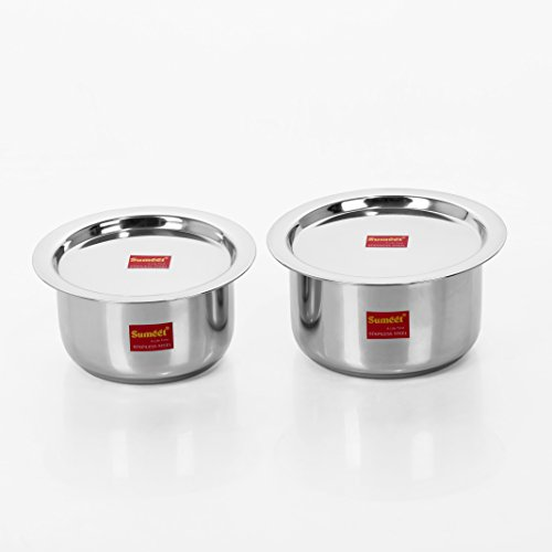 Sumeet 2 Pcs Stainless Steel Induction & Gas Stove Friendly Container Set / Tope / Cookware Set With Lids - Size No.10 & No.11  available at amazon for Rs.569