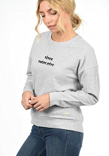 BLEND SHE Aurelie Damen Sweatshirt Pullover Sweater mit trendigem Print und Rundhals-Ausschnitt aus hochwertiger Baumwollmischung Light Grey Melange (20042)