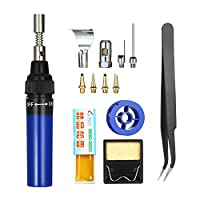 Festnight 13 in 1 13Pcs Soldering Iron Kit 26ml Full Electronics Set Pen Welding Tool Car Repairing Gas Soldering Self-igniting Torch Outdoors/Blue Transparent