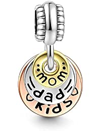 Soufeel Mom Dad Kids Familie Pendant Charm 925 Sterlingsilber