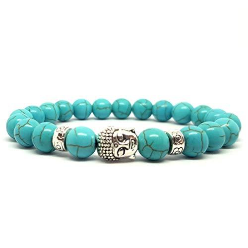 KARDINAL WEIST Naturstein Perlenarmband aus Howlith Türkis mit Buddha Perle, Yoga-Schmuck für Damen und Herren, Energie Armband (Vestili) - Armband Türkis-perlen Mit