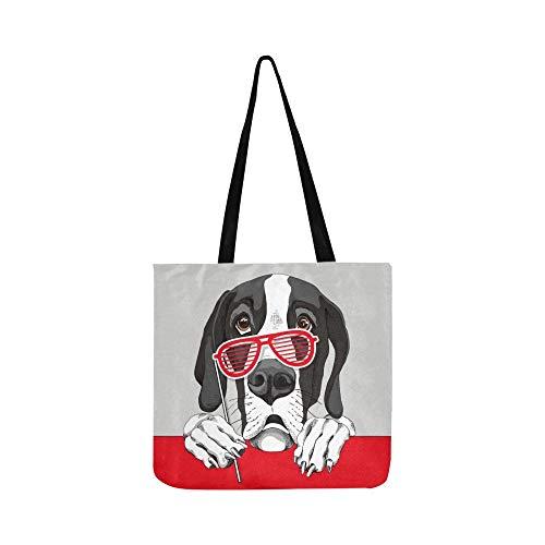 Dogge Hund Rot Grill Gläser Leinwand Tote Handtasche Schultertasche Crossbody Taschen Geldbörsen Für Männer Und Frauen Einkaufstasche