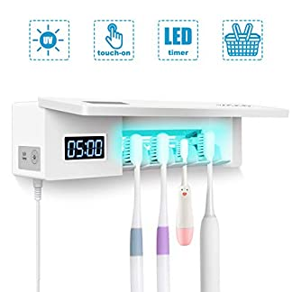 MECO ELEVERDE Portacepillos de dientes UV Esterilizador de Cepillos de Dientes con 4 Ports Soporte para Cepillos de Dientes de Pared con Ventosa Accesorios de Baño para Familiar Niño