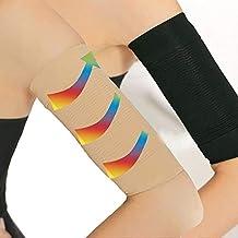 2coppia bellezza donne la perdita di peso calorie braccio dimagrante Shaper massaggiatore Lose Buster Wrap cintura snellente compressione braccio Shaper aiuta a forma di tono braccio manica, nero + color carne