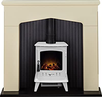 Adam Ludlow Stove Suite in Stone Effect with Aviemore Electric Stove in Pure White, 48 Inch