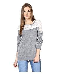 Yepme Jess Lace Sweatshirt - Grey -- YPMSWEAT5111_S