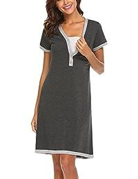 7789530c17dc UNibelle Camicia da Notte Premaman Vestito da maternità Donna Abito di  maternità Abito Scollo a V a Maniche Corte…