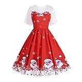 Soupliebe Frauen Weihnachtselegantes Blumenspitze Weinlese Tee Hepburn Minikleid Ballkleid Abendkleider Cocktailkleid Partykleider Blusenkleid