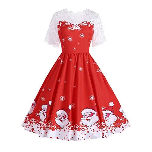 Soupliebe Frauen Weihnachtselegantes Blumenspitze Weinlese Tee Hepburn Minikleid Ballkleid...