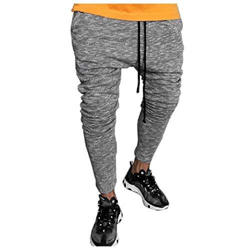 CuteRose Mens Outdoors Drawstring with Pocket Workout Gym Running Trousers Dark Grey XS