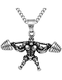 MagiDeal Hippy Muscle Men Barbell Bodybuilding Enthusiasts Stainless Steel Pendant Chain Necklace