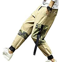 Hombre Casuales Multi-Bolsillo Pantalones Suelto Imprimiendo Patrón De Letras Tamaño Grande Pantalones De Harén Color Sólido Tether Cintura Elástica Pantalones