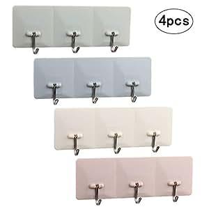 4er hakenleiste set stark selbstklebend handtuchhaken wasserfest klebenhaken mit 12 haken. Black Bedroom Furniture Sets. Home Design Ideas