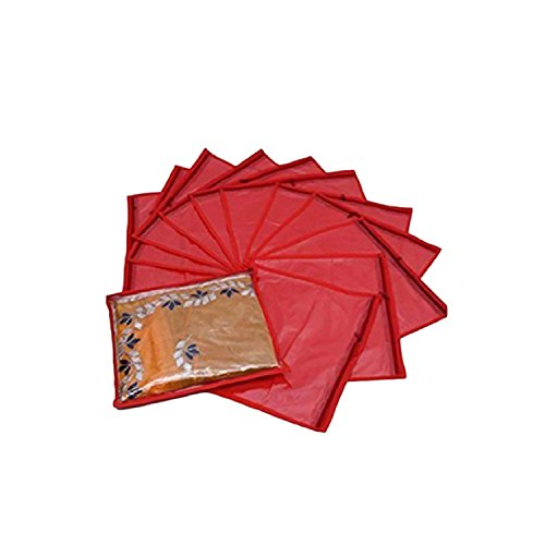 Latest Design 12 Piece Non Woven Saree Covers to store your expensive sarees Cover (Red)
