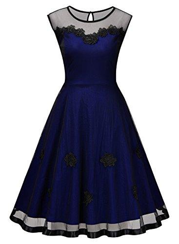 Missmay Damen Rundhals Knielang Abendkleid Cocktail Ballkleid Blau Gr.L -