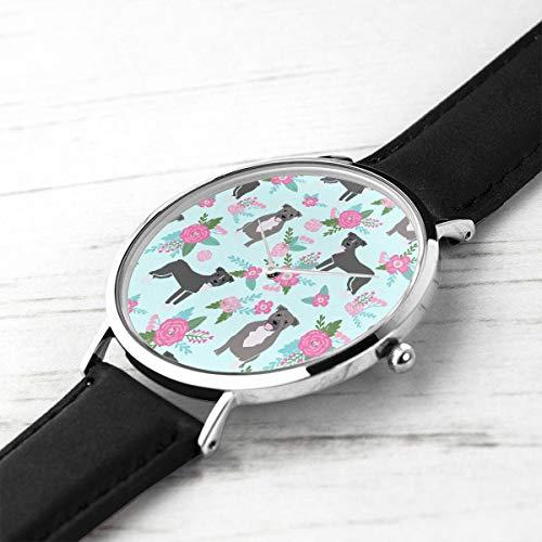Men's Ultra Thin Fashion Minimalist Wrist Watches Pitbull Dog Floral Pitbull Cheater Quilt E Floral Pink and Teal Aqua Waterproof Quartz Casual Watch Mens -