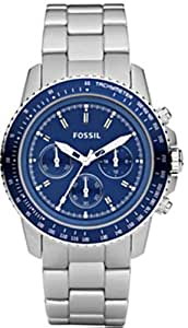 fossil damen chronograph sport aluminium silber blau. Black Bedroom Furniture Sets. Home Design Ideas