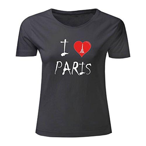 Art t-shirt, maglietta i love paris, donna, nero, s