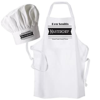 Mens Personalised Masterchef Apron & Chef's Hat Set Personalised with a name of your choice