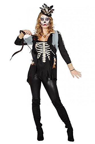 Kostüm Priesterin Voodoo - shoperama Voodoo Queen Damen Top Medizinmann Jackett Oberteil Regenmacher Kostüm Priesterin Schamanin Witch Doctor, Größe:36