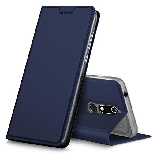Verco Handyhülle kompatibel mit Nokia 7.1, Premium Handy Flip Cover für Nokia 7.1 Hülle [integr. Magnet] Case Tasche, Blau -
