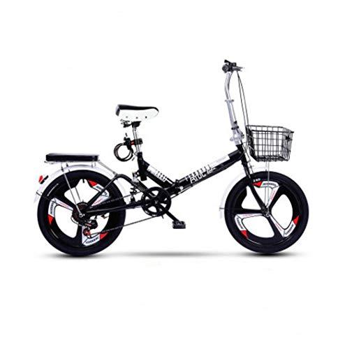 GHGJU Fahrrad Erwachsenen Klapprad 20 Zoll Variable Geschwindigkeit Stoßdämpfer Fahrrad Ultraleicht tragbares kleines Fahrrad Geeignet für Bergstraßen und Regen und Schnee (Color : Black)