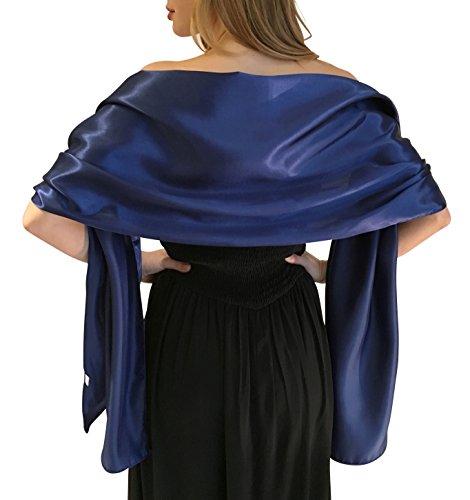 Silky satin stola dell'involucro dello scialle sciarpa pashmina per la sposa damigelle in avorio bianco nero blu argento oro rosa grigio verde (s-m, blu scuro)