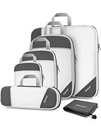 Gonex Organizador para Maletas Viaje Equipaje, Portatrajes Bolsas de Embalaje Almacenaje para Guardar Ropa Zapatos Cosméticos Cubos Ultraligeros Ahorro de Espacio Nylon Rip-Stop
