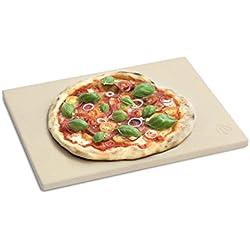 BURNHARD Pierre à Pizza pour Four et Barbecue, Cordierit, rectangulaire, adapté au Pain, à la Tarte flambée et à la Pizza - 38 x 30 x 1.5 cm